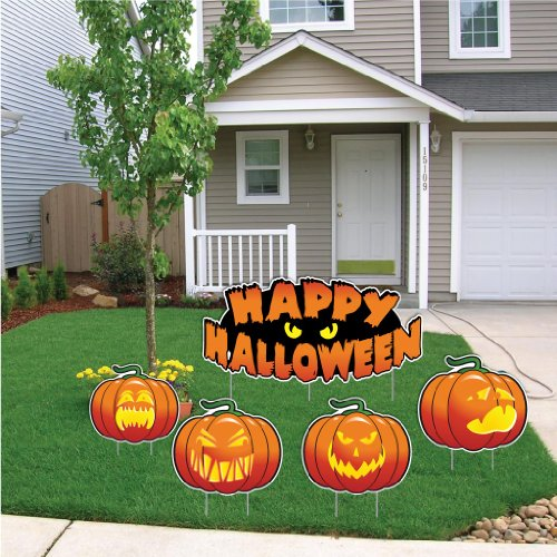 Happy Halloween Scary Pumpkins Halloween Lawn Decoration 5 Piece Set w/12 Short Stakes