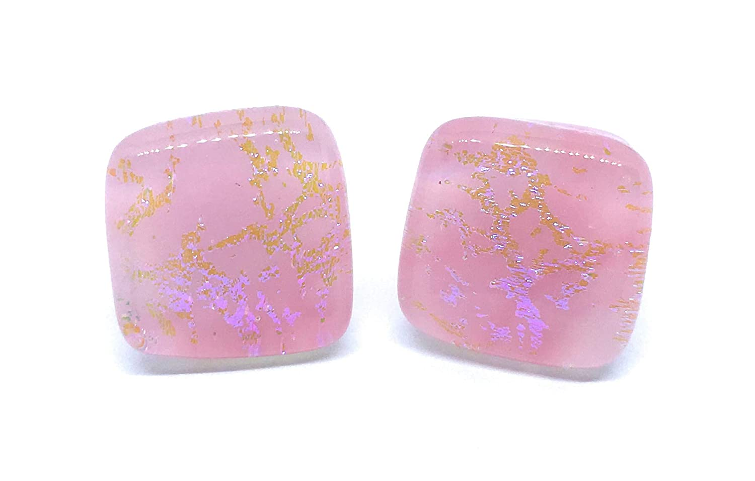 Presents for Women 1.2cm x 1.2cm with Silver Plated Studs Includes Gift Box Gifts for Women Handmade Dichroic Glass Earrings in Pink