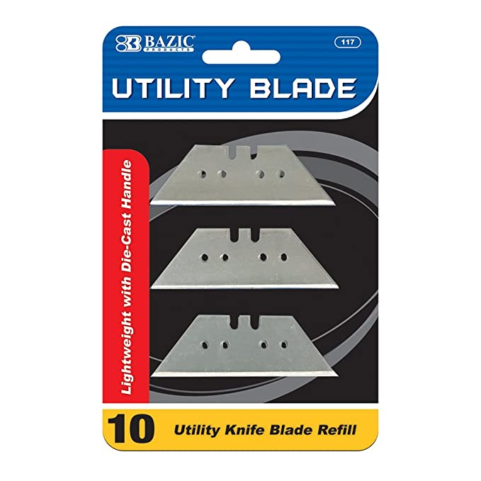 BAZIC Utility Knife Replacement Blade for Fixed Utility Knives and Box Cutters (10/Pack)