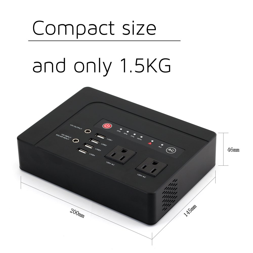 WEIYI 200-Watt Purely Sine Wave Portable Generator Power Station Power Inverter With Outputs AC 110V 4USB ,2DC-12V/10A, Built-in Li-on Battery 42000mah by WEIYI (Image #3)