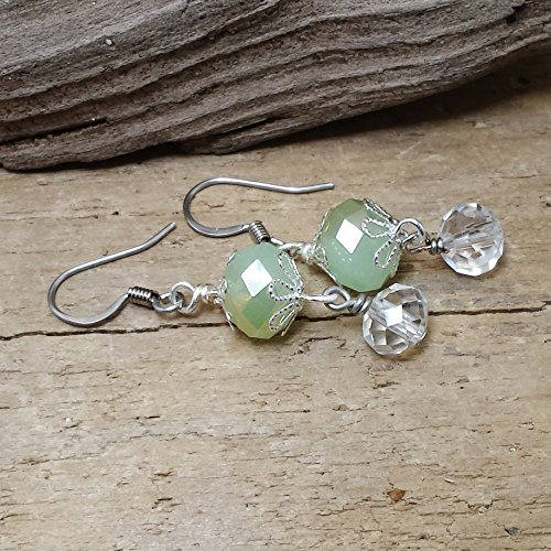 Green Rondelle Crystal with a Clear Crystal (Handwrapped Crystal)