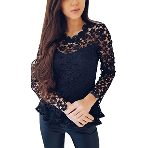 f32ff89f06d Lelili Women Sexy Solid Floral Lace Hollow Out Long Sleeve Round Neck Swing Tunic  Tops and