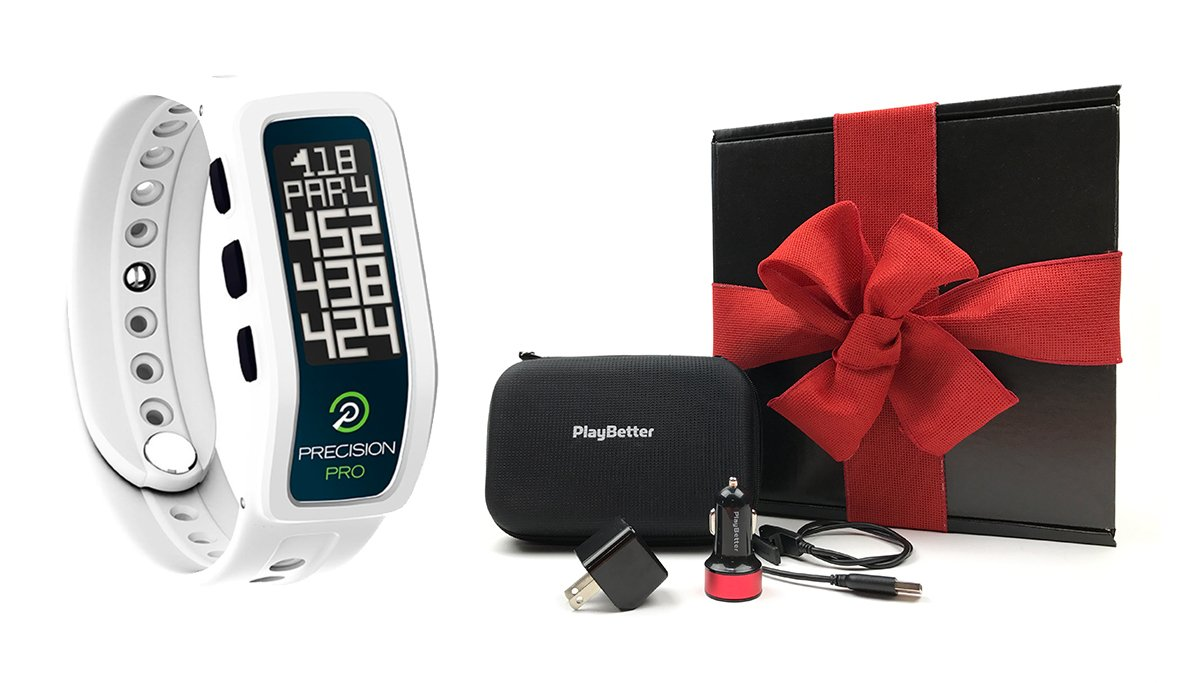 Precision Pro Golf GPS Band (White) GIFT BOX | Bundle includes Golf GPS Band, PlayBetter USB Car & Wall Charging Adapters, PlayBetter Hard Case | Gift Box & Red Bow by Precision Pro (Image #1)