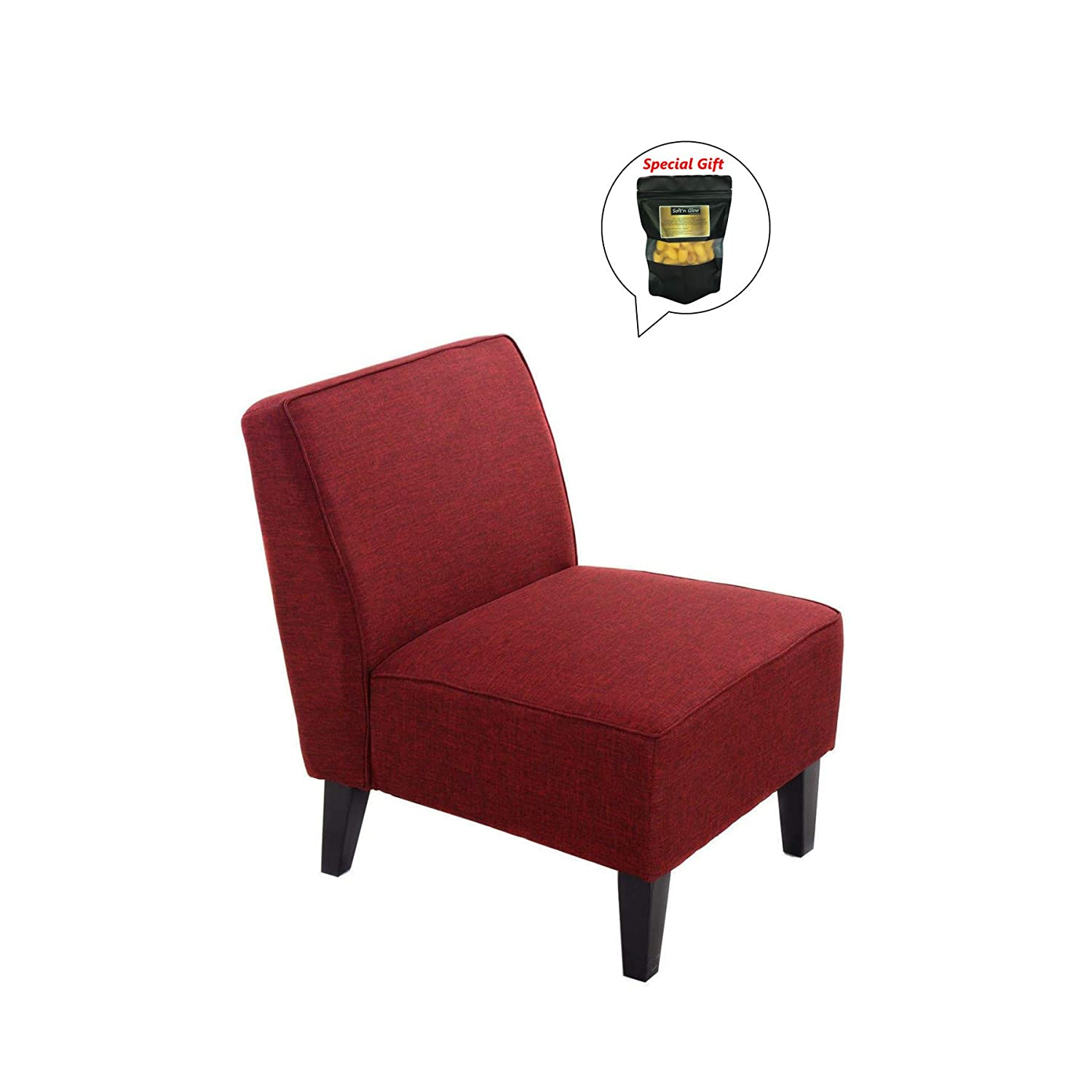 Amazon.com - New Red Accent Chair Armless Contemporary ...