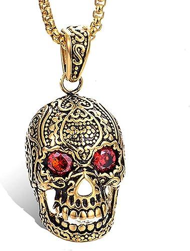 Men Women Gothic Stainless Steel Large Heavy Skull Pendant Halloween Necklace