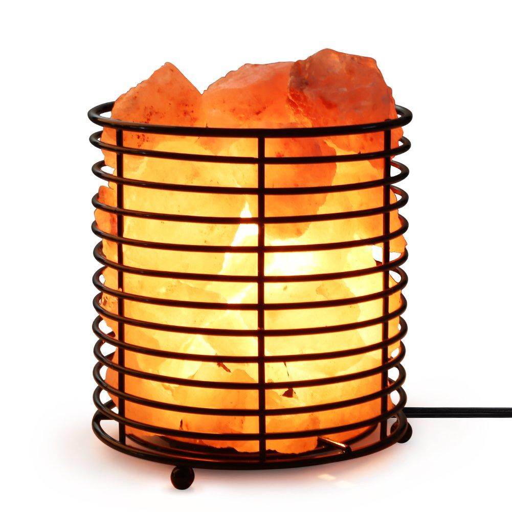 SMAGREHO Natural Himalayan Pink Salt Lamp Basket with Salt Crystal,UL Listed Dimmer Switch, Light Bulbs,Cord(Cylinder)