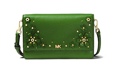 d07c30efd5fd MICHAEL MICHAEL KORS Mercer Floral Embellished Pebbled Leather Smartphone  Crossbody (True Green)  Handbags  Amazon.com