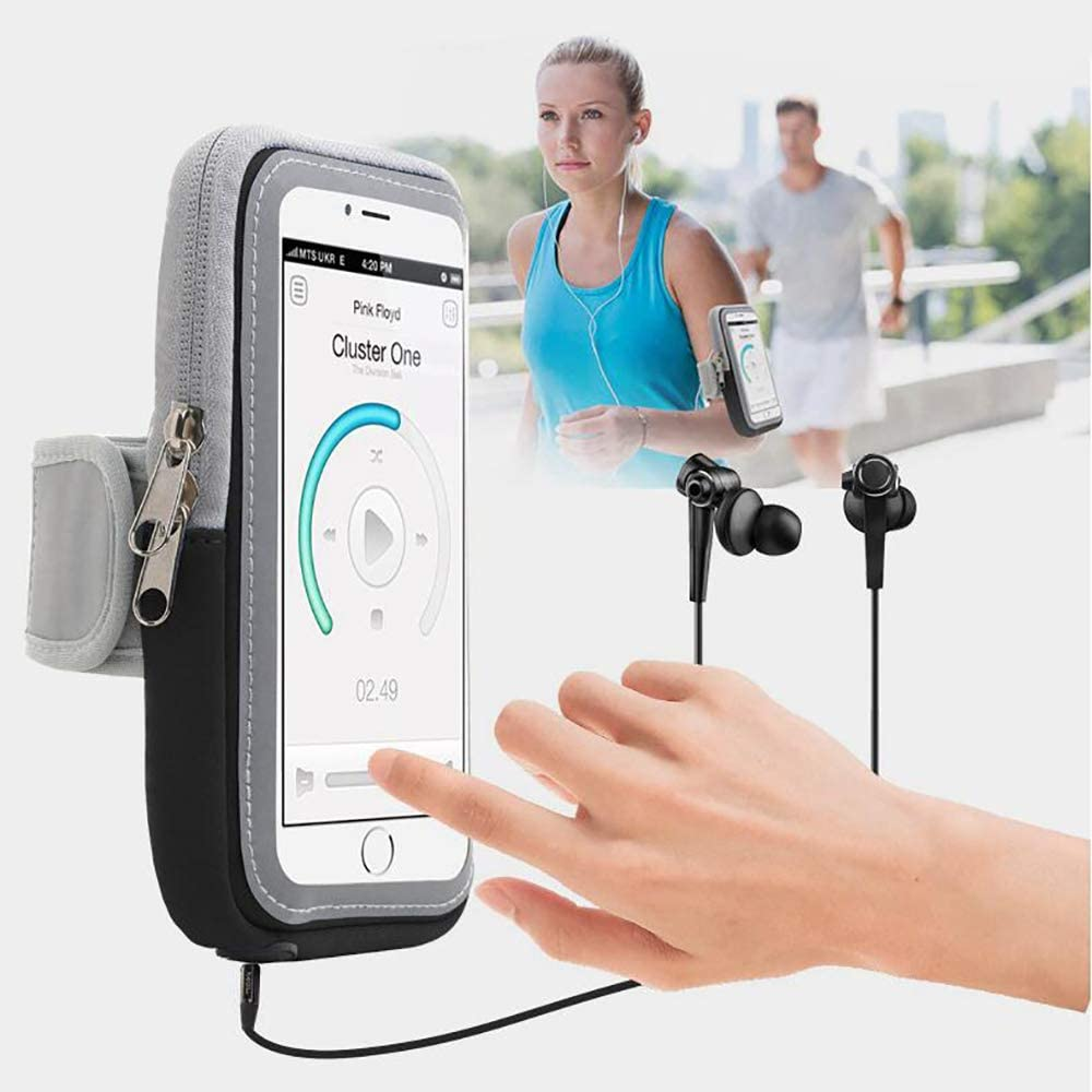 Universal Arm Phone Holder For Running:Phone Armband Sleeve Workout Gear Arm Pouch Case & Bag For Apple iPhone 6S 7S 8S PLUS X XS&Samsung Galaxy S7 S8 S9- ALL PLUS SIZED PHONES UP TO 6 INCH(Black)