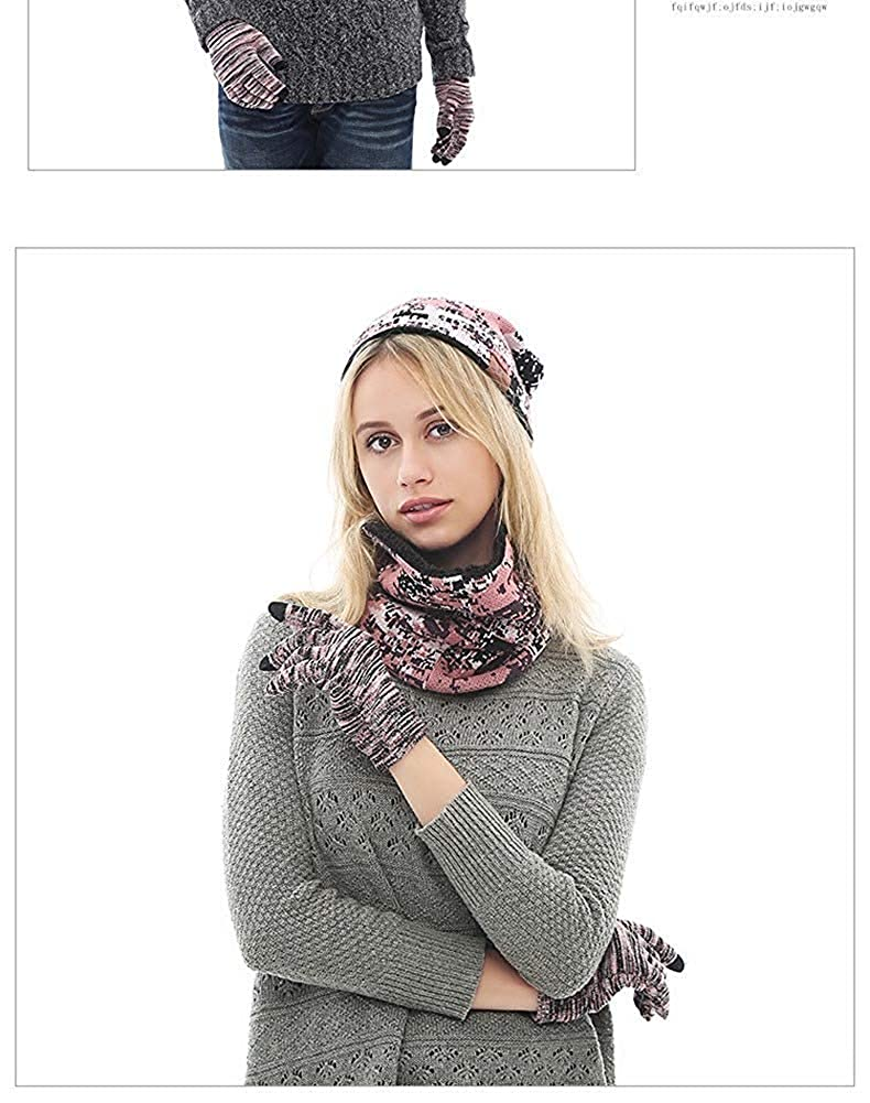 LovePromotion Winter Warm Hat Scarf Touch Screen Glove 3 Pieces Set Unisex Thick Camouflage for Men Women