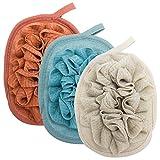 Aprince Loofah Mesh Loofah Sponge Brushes Pouf Bath Mesh Brush Glove Foaming Bath Ball One-piece Bathing Gloves Best Bath Shower Dead Skin Cells Remover 3 PCS