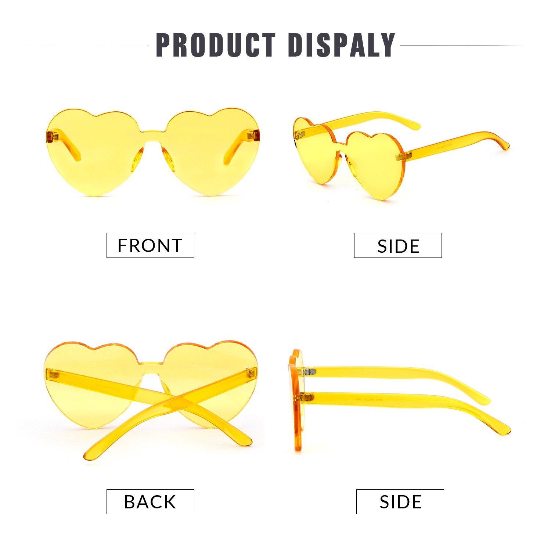 Love Heart Shape Sunglasses Women Rimless Frame Colorful SunGlasses by ADEWU (Image #3)