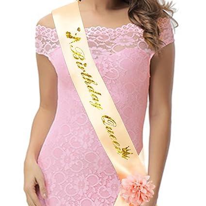 Amazon K KUMEED Birthday Queen Sash Champagne