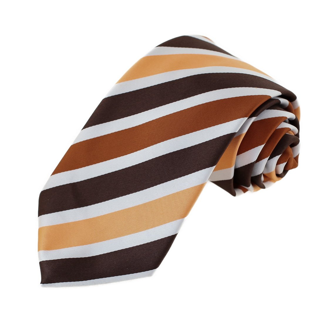 EAGA0150 Brown Orange Striped Microfiber Mens Tie Fine Design Extra Long Tie By Epoint