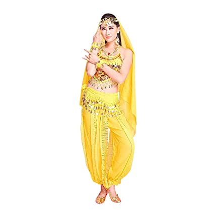 MINLIDAY Disfraz Danza del Vientre Mujer en Gasa, 7 Piezas Danza de la India Disfraz Chica Mujer para Carnaval, Halloween, Cosplay, Talla única