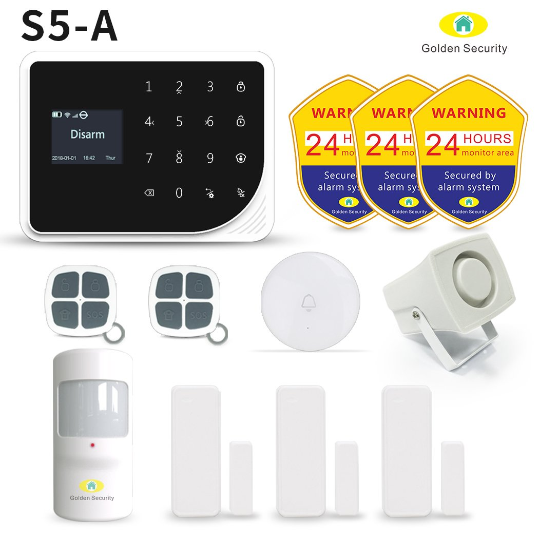 Golden Security Home Alarm System S5-A Wireless Smart Home with LCD Screen, working with WIFI/GSM on IOS/Android. Compatible with siren, doorbell, PIR motion sensor, door/window sensor, and etc. by Golden Security