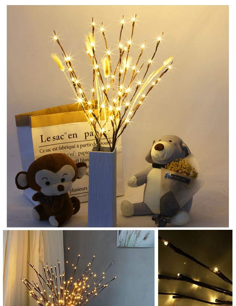 LED Lumineux /Éclairage Branche Brindille Branche De Saule Floral Lampe /À Piles Accueil Parti Vase De No/ël Halloween D/écoration Blanc froid, 4 PCS