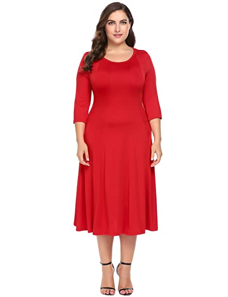 61a191956ed IN VOLAND Women Plus Size Maxi Dress 3 4 Sleeve A-line Flare Midi Wedding  Party Dress at Amazon Women s Clothing store