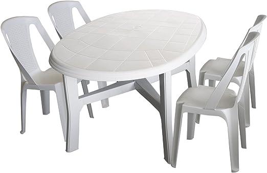 5 piezas. Juego de muebles de jardín PLÁSTICO Color Blanco – Mesa ...
