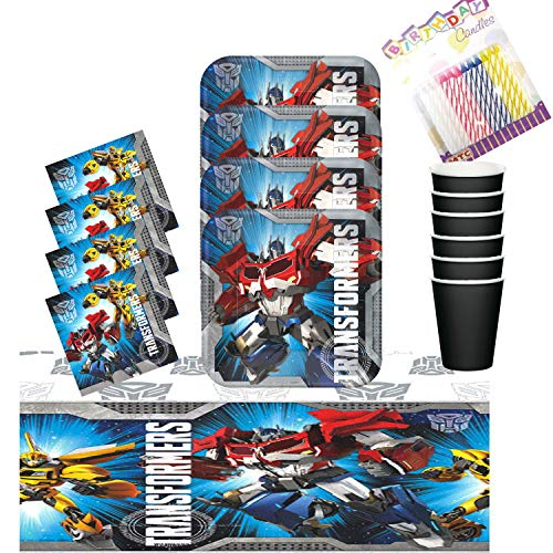 Transformer Party Plates Napkins Cups and Table Cover Serves 16 with Birthday Candles - Transformer Party Supplies Pack Deluxe (Bundle for 16) ()