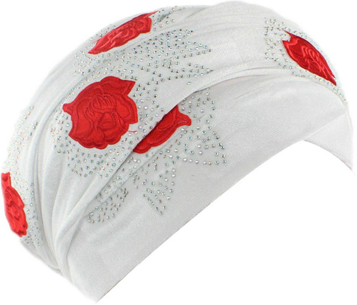 Ababalaya Women's Soft Gold Velvet Rhinestones Rose Muslim Turban Headscarf Hijab 67×10 In,White