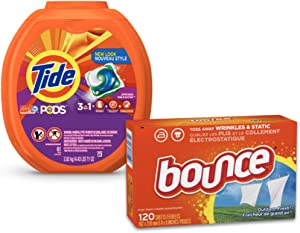Tide PODS 3 in 1 HE Turbo Laundry Detergent Pacs, Spring Meadow Scent, 81 Count Tub with Dryer Sheets for Static Control, 120 Count