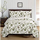 Egyptian Bedding 3 Piece Carrie CALIFORNIA (CAL) KING Oversize Super Luxurious Wrinkle Free Coverlet / Quilt Bedding Ensemble Set with Pillow Shams