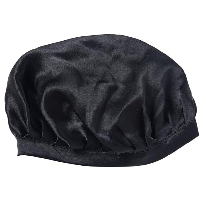 4d75d14bb45 Fenteer Womens Soft Silk Sleeping Cap Night Sleep Hat Hair Care Bonnet -  Black