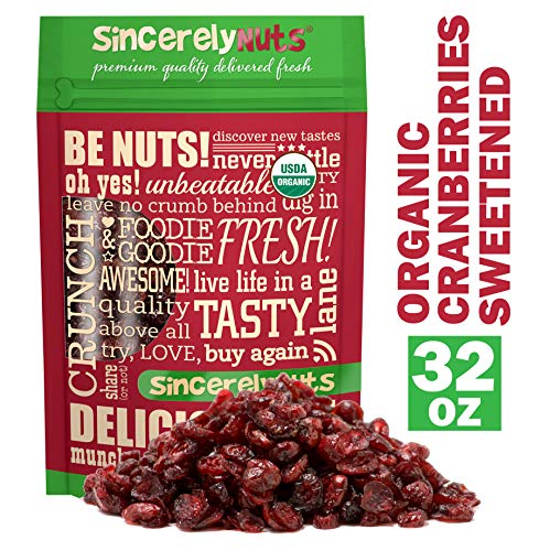 - Sincerely Nuts Organic Cranberries (2 LB) Dried Fruit - Healthy Addition to Your Favorite Meals - Vegan & Kosher