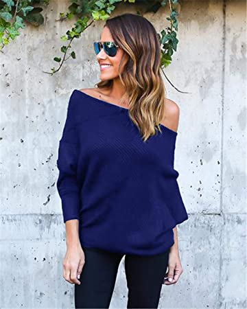 4becd6f3d7e84 Women Sweaters Womens Off Shoulder Batwing Sleeve Loose Oversized Pullover  Sweater Knit Jumper Spring Autumn Winter