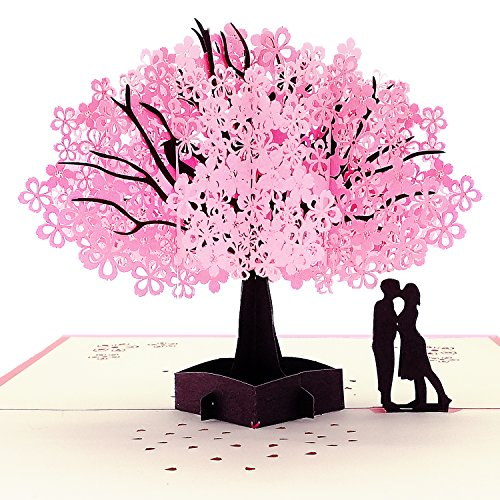 Frontoper Handmade 3D Greeting Card Pop Up Card With Cherry Blossom And Sweet Couple for Valentine's Day, Wedding, Anniversary, Birthday Between Husband and Wife, Boyfriend and Girlfriend ()