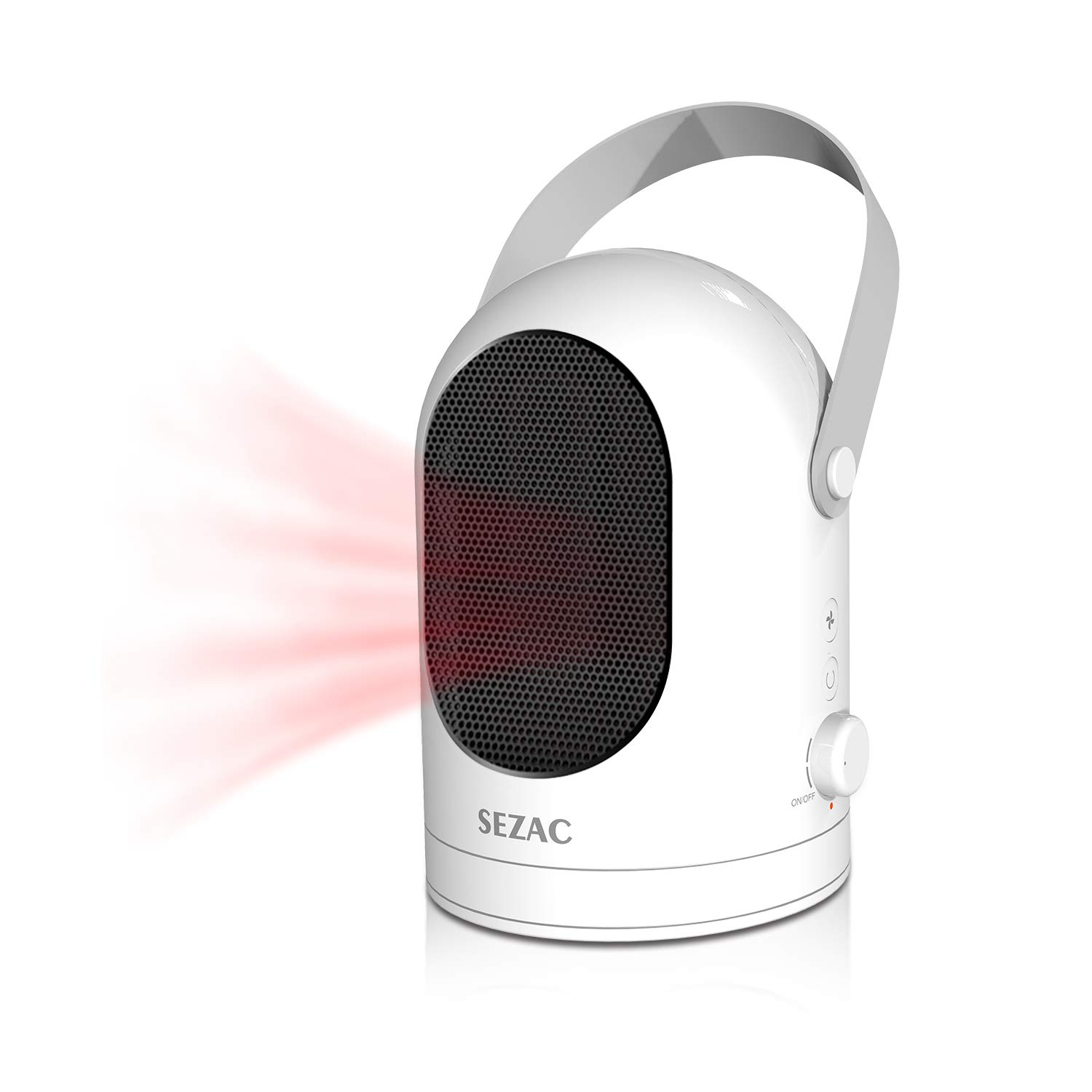 [2018 Newest] SEZAC Personal Space Heater, Oscillating Fan Heater, Portable Ceramic Heater, 600W Mini Space Heater with Warm and Natural Wind for Home, Office, Desktop, Bedroom (White)