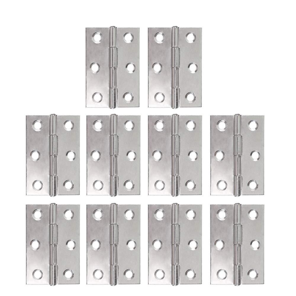 Bisagras de Gabinete ManYee 10pcs 48mm Bisagras de Acero Inoxidable Bisagras de Gabinete Bisagras a tope plegables para caja de madera de casa de animal casa de muñ ecas (Plata)