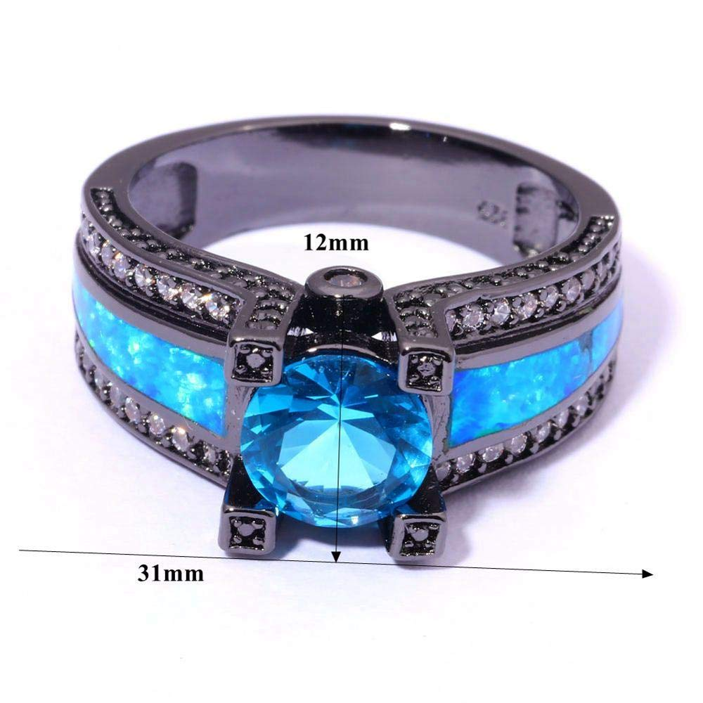 Caxybb Gift Gift Created Blue Fire Opal Blue Cubic Zirconia Black