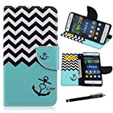 Huawei P8 Lite Case,P8 Lite Wallet Case - Nautical Anchor Chevron Zig-Zag Pattern Premium PU Leather Wallet Case Stand Cover Card Slots for Huawei P8 Lite + CoolGiftCase Stylus