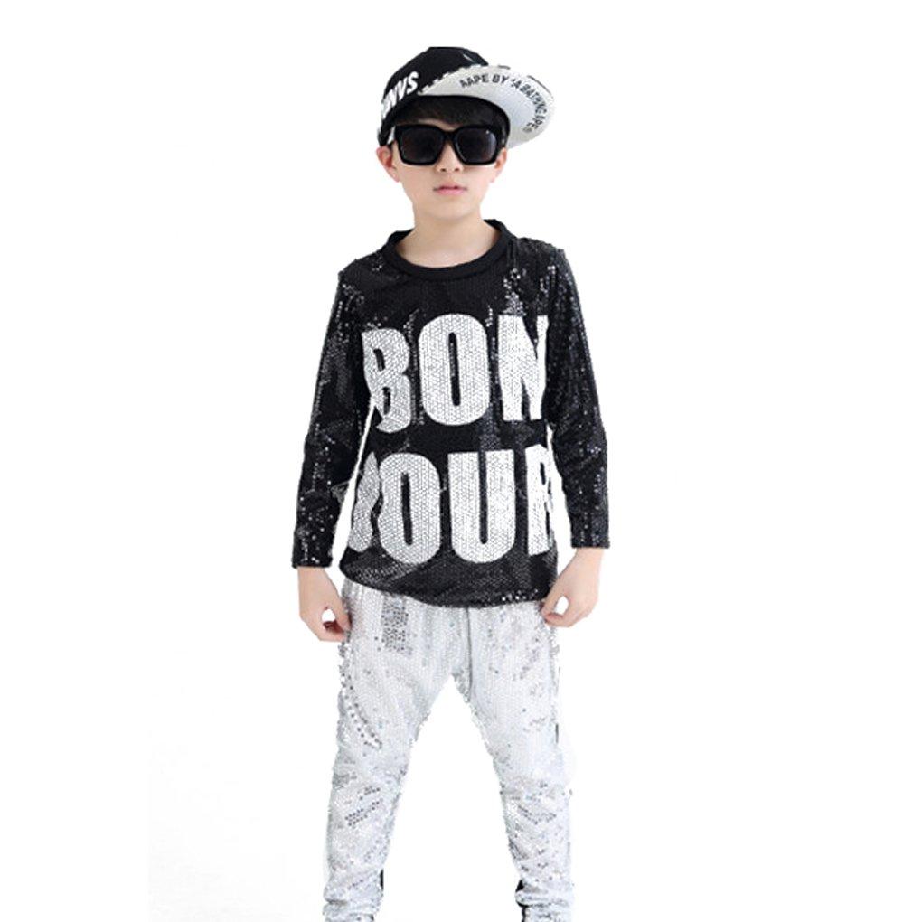 Unisex Sequin Dance Costume Child Silver Black Hip Hop Jazz Clothes 2PC Group//Solo Competition Nanchang Zhangcangjishi E-commerce Co .LTD Professional to Costume
