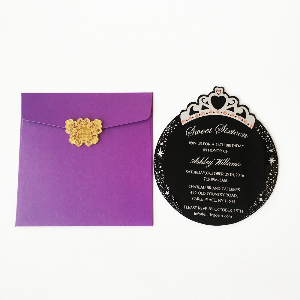 Amazon.com: Customized 150x170mm Round Princess Crown Shape Black acrylic Birthday Invitation Card Sweet Sixteen Invitation Card 100pcs Per Lot: Health ...
