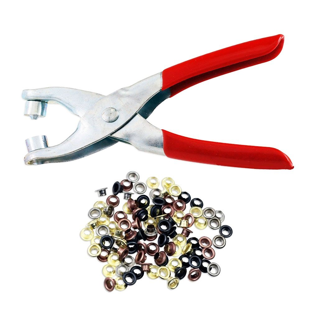 Podoy Eyelets Punch Holes 4mm Brass Hand Pliers Tool for Shoes Belts Bags Leather Fabric (100pc) 1U2415