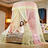 Lustar Court Style Mosquito Net Bed Canopy For Children Fly Insect Protection Indoor Decorative Height 280cm Top Diameter 1.5m,Yellow