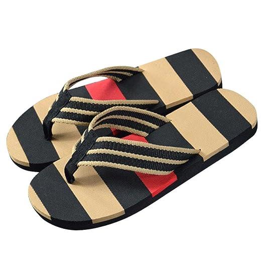 93aefe563a803 Amazon.com: Han Shi Men Flip Flops, Summer Fashion Stripe Shoes Soft Non  Slip Sandals Slipper: Clothing