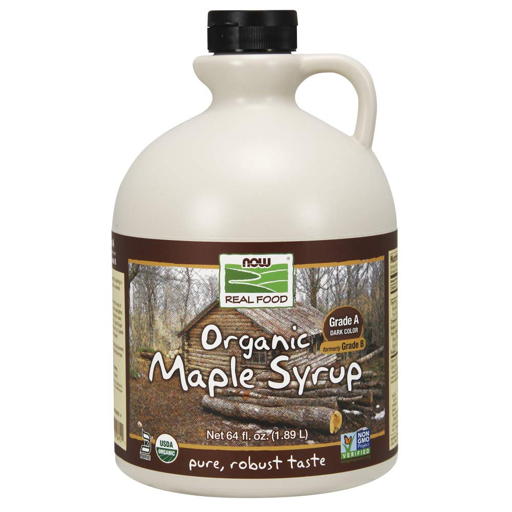 NOW Foods, Certified Organic Maple Syrup, Grade A Dark Color, Certified Non-GMO, Pure, Robust Taste, 64-Ounce by NOW Foods (Image #1)