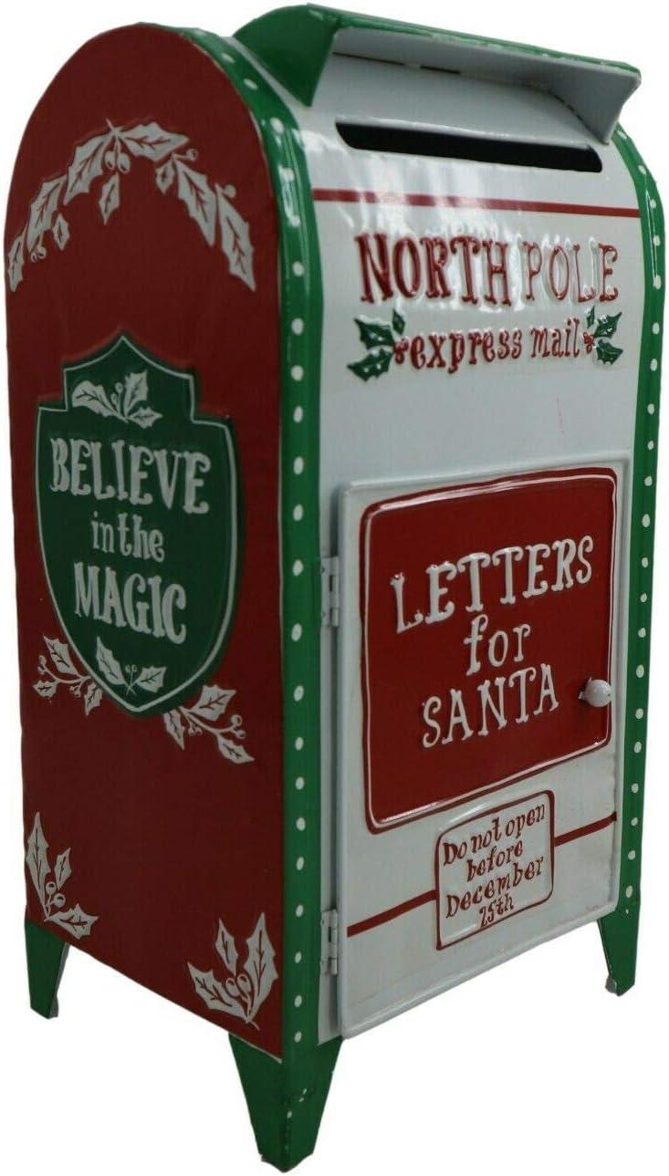 42 cm All Chic North Pole Express colore: Bianco Cassetta postale natalizia per lettere di Babbo Natale