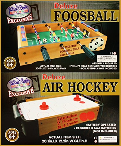 Matty's Toy Stop Deluxe Wooden Mini Table Top Air Hockey (Extra Pucks) & Foosball (Soccer) (Extra Balls) Games Gift Set Bundle - 2 Pack