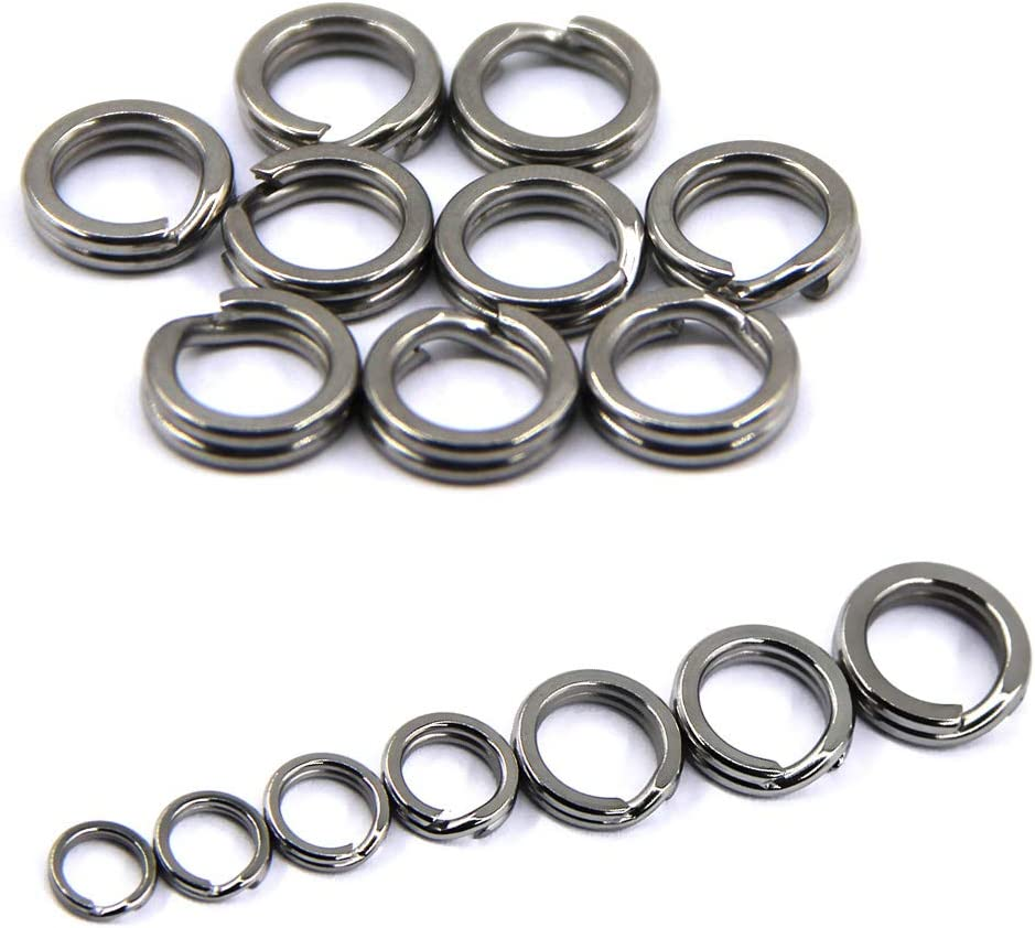 JSHANMEI Fishing Split Rings Stainless Steel Double Snap Ring High Strength Metal Solid Circle Lure Connectors Fishing Tackle