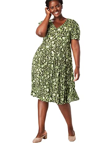 4433569aa25f Woman Within Women s Plus Size Short Button-Front Crinkle Dress