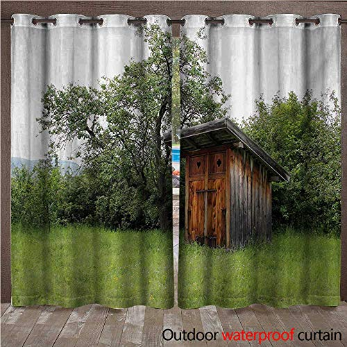 WilliamsDecor Outhouse 0utdoor Curtains for Patio Waterproof Wooden Little Hut Barn Shed Cottage in Nature Forest Image W84 x L84(214cm x 214cm) ()