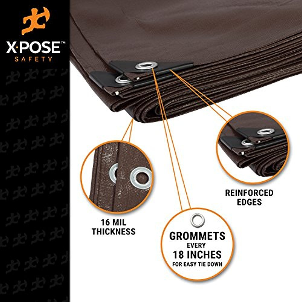 Rip and Tear Proof Tarpaulin with Grommets and Reinforced Edges by Xpose Safety Rot 20 x 30 Super Heavy Duty 16 Mil Brown Poly Tarp Cover UV Resistant Thick Waterproof