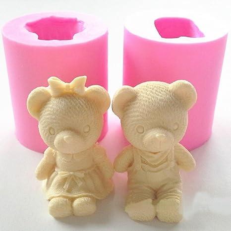 Molde de silicona para jabón con forma de oso para decoración de tartas, pasteles,