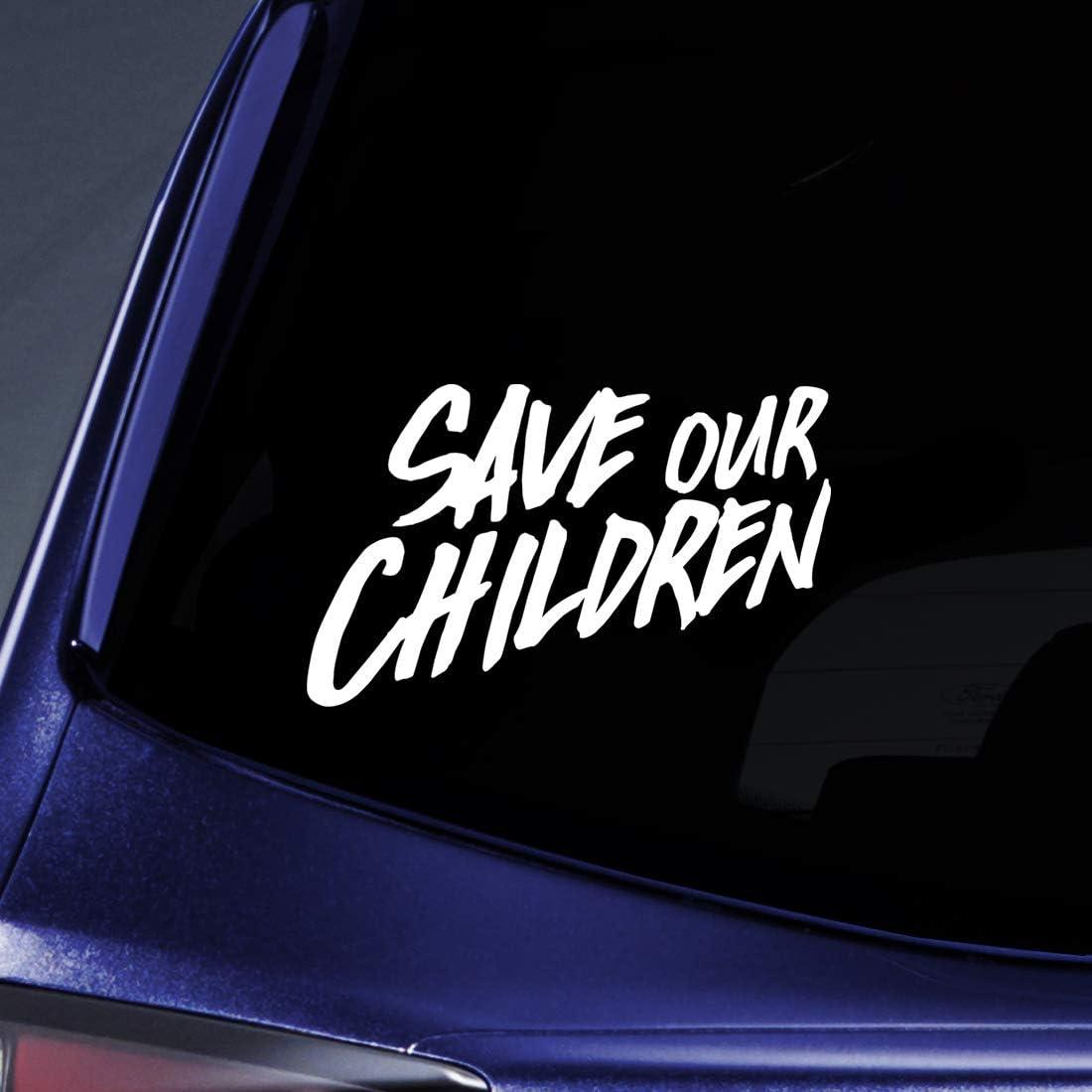 "Bargain Max Decals Save Our Children Script Sticker Decal Notebook Car Laptop 5.5"" (White)"