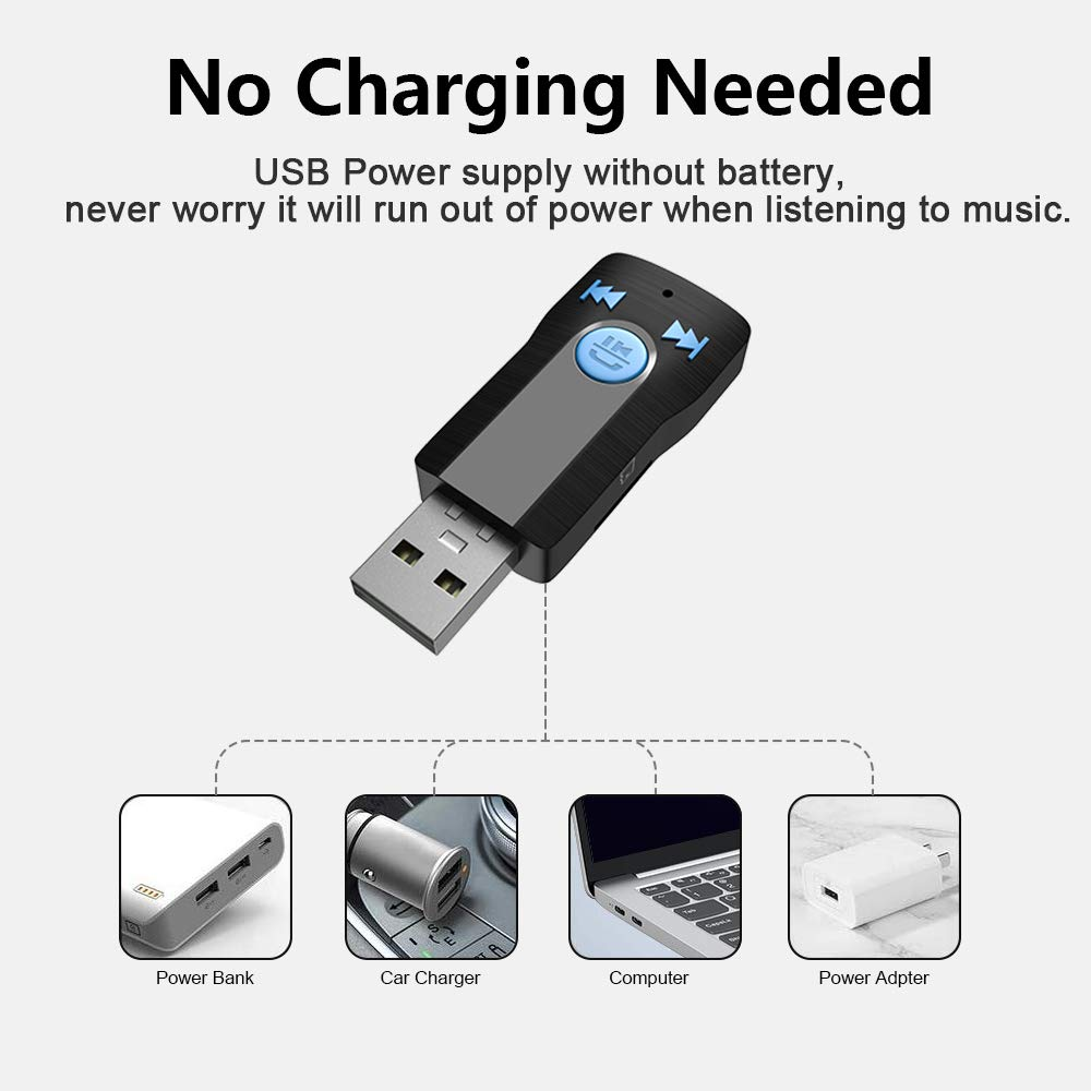 Handsfree Calls 3.5mm AUX Adapter Car Kits,Portable Mini Bluetooth V4.2+EDR Audio Adapter,Support SD Card Play Music for Home Stereo Headphones Speakers SONRU USB Bluetooth Receiver Adapter for Car
