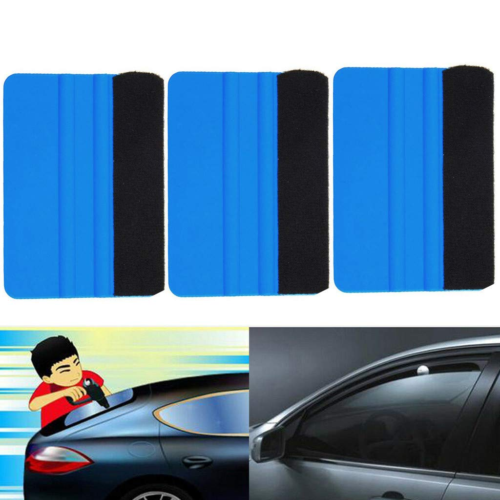 callm Blue Plastic Felt Edge Squeegee Car Vinyl Wrap Application Tool Scraper Decal